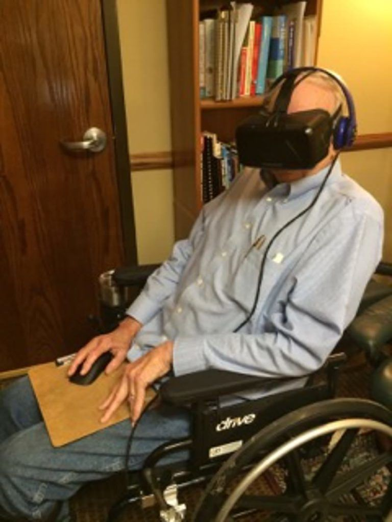 VR Therapy for Pain - A pain patient using VR Therapy