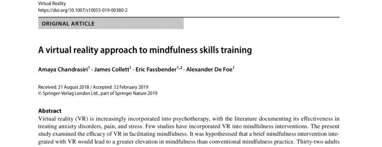 Research Study - A virtual reality approach to mindfulness skills training